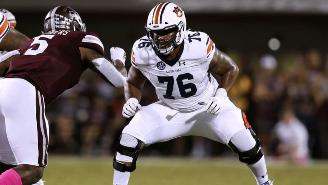 STARKVILLE, MS - OCTOBER 06: Prince Tega Wanogho #76 of the Auburn Tigers guards during a game against the Mississippi State Bulldogs at Davis Wade Stadium on October 6, 2018 in Starkville, Mississippi. (Photo by Jonathan Bachman/Getty Images)