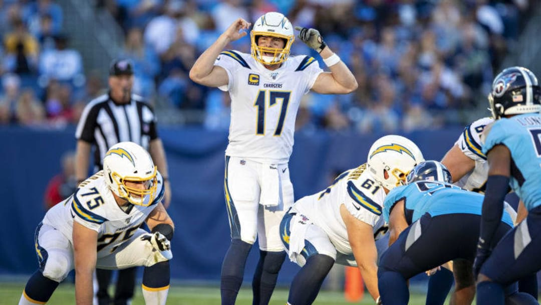 NASHVILLE, TN - OCTOBER 20: Philip Rivers #17 of the Los Angeles Chargers signals at the line of scrimmage during a game against the Tennessee Titans at Nissan Stadium on October 20, 2019 in Nashville, Tennessee. The Titans defeated the Chargers 23-20. (Photo by Wesley Hitt/Getty Images)