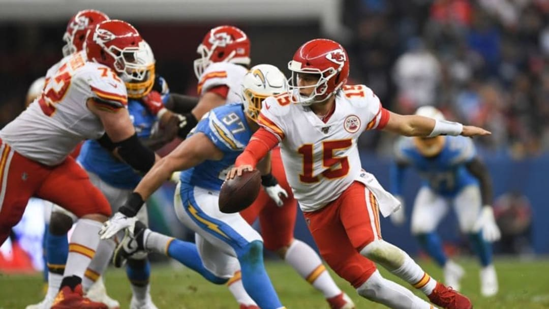 Kansas City Chiefs quarterback Patrick Mahomes (R) looks to throw a pass during the 2019 NFL week 11 regular season football game between Kansas City Chiefs and Los Angeles Chargers on November 18, 2019, at the Azteca Stadium in Mexico City. (Photo by PEDRO PARDO / AFP) (Photo by PEDRO PARDO/AFP via Getty Images)