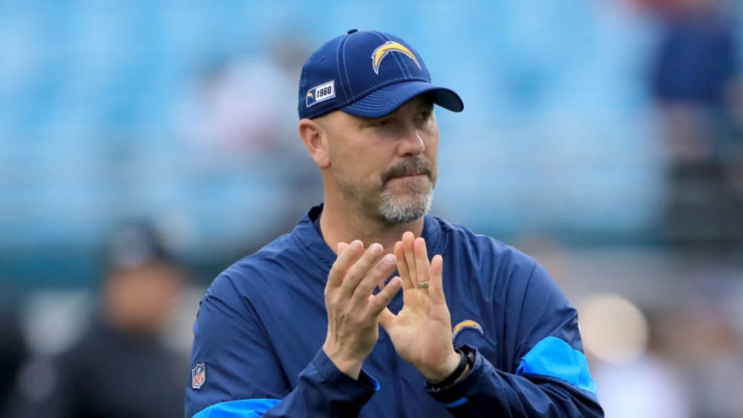 JACKSONVILLE, FLORIDA - DECEMBER 08: Defensive coordinator Gus Bradley of the Los Angeles Chargers smiles prior to the game against the Jacksonville Jaguars at TIAA Bank Field on December 08, 2019 in Jacksonville, Florida. (Photo by Sam Greenwood/Getty Images)