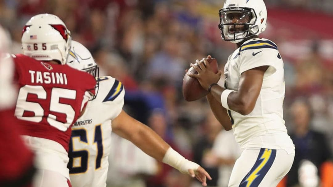 GLENDALE, AZ - AUGUST 11: Quarterback Geno Smith #3 of the Los Angeles Chargers drops back to pass during the preseason NFL game against the Arizona Cardinals at University of Phoenix Stadium on August 11, 2018 in Glendale, Arizona. (Photo by Christian Petersen/Getty Images)