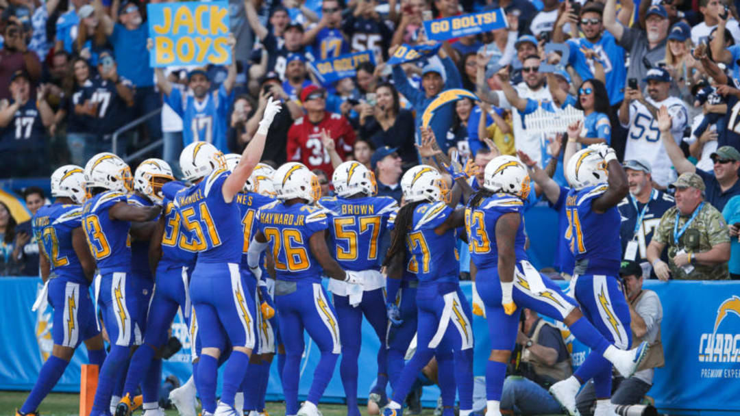 CARSON, CA - NOVEMBER 25: Los Angeles Chargers react with fans after an interception in the second quarter against the Arizona Cardinals at StubHub Center on November 25, 2018 in Carson, California. (Photo by Sean M. Haffey/Getty Images)