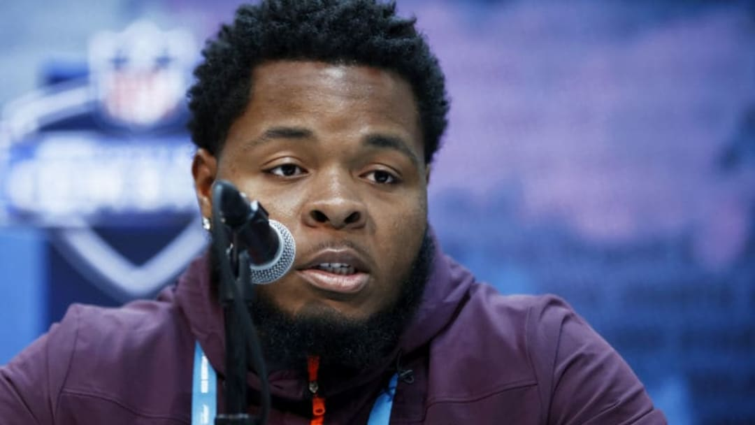 INDIANAPOLIS, IN - FEBRUARY 28: Offensive lineman Jawaan Taylor of Florida speaks to the media during day one of interviews at the NFL Combine at Lucas Oil Stadium on February 28, 2019 in Indianapolis, Indiana. (Photo by Joe Robbins/Getty Images)