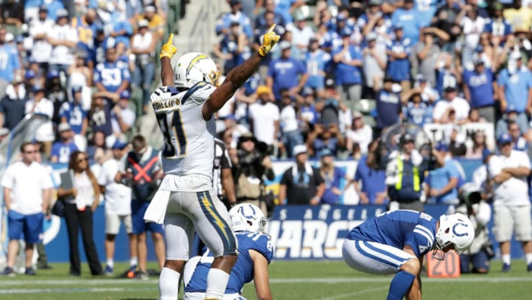 CARSON, CALIFORNIA - SEPTEMBER 08: Adrian Phillips #31 of the Los Angeles Chargers celebrates a missed field goal by Adam Vinatieri #4 of the Indianapolis Colts in the third quarter at Dignity Health Sports Park on September 08, 2019 in Carson, California. The Chargers defeated the Colts 30-24 in overtime. (Photo by Jeff Gross/Getty Images)