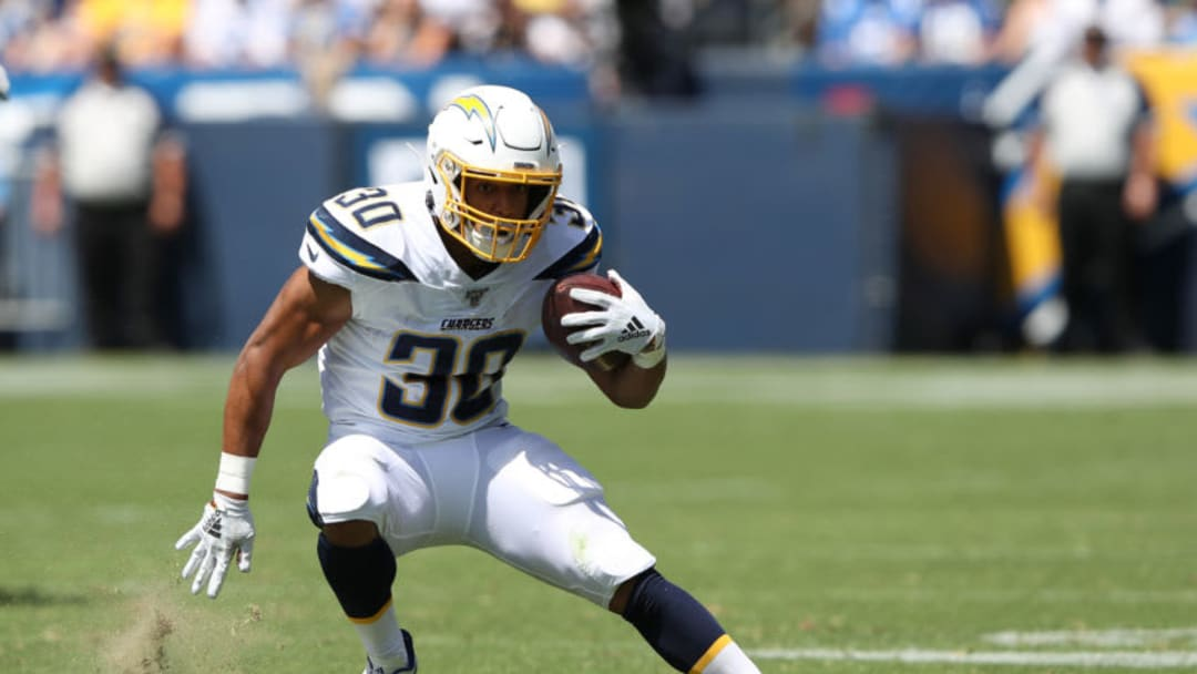 CARSON, CALIFORNIA - SEPTEMBER 08: Austin Ekeler #30 of the Los Angeles Chargers runs the ball during the first half of a game against the Indianapolis Colts at Dignity Health Sports Park on September 08, 2019 in Carson, California. (Photo by Sean M. Haffey/Getty Images)