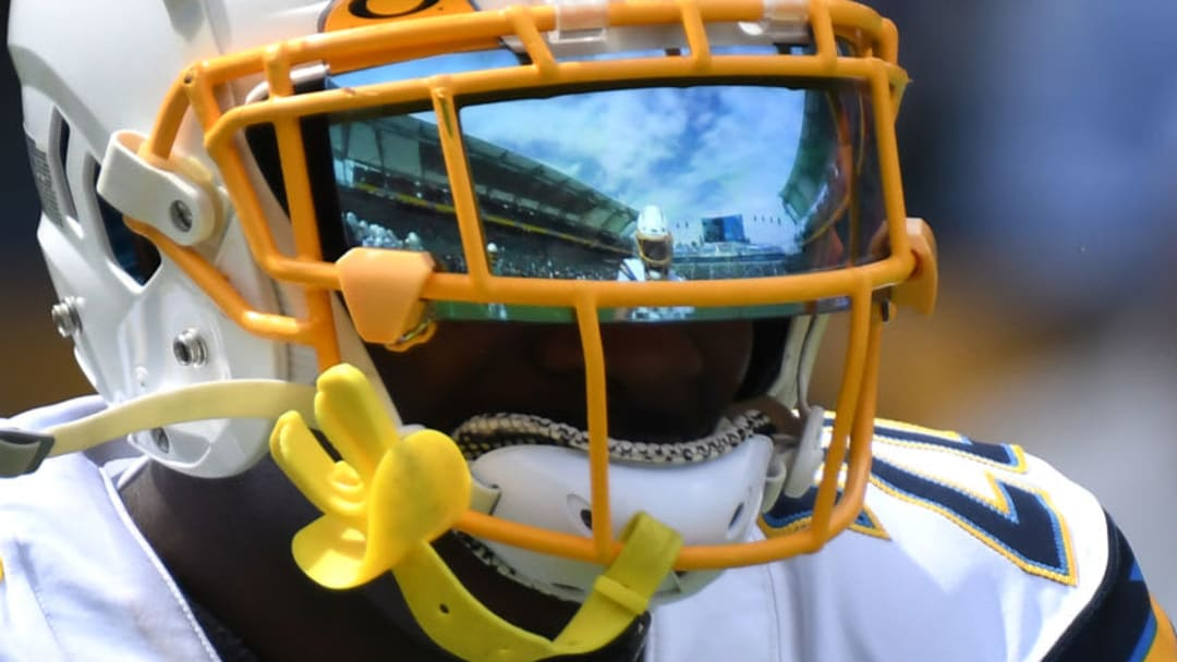 CARSON, CALIFORNIA - SEPTEMBER 22: The field is reflected in the mask of defensive back Desmond King #20 during warm ups for the game against the Houston Texans of the Los Angeles Chargers at Dignity Health Sports Park on September 22, 2019 in Carson, California. (Photo by Meg Oliphant/Getty Images)