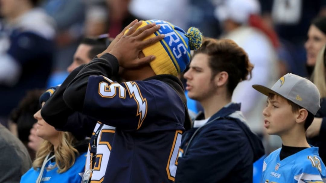 SAN DIEGO, CA - JANUARY 01: A San Diego Chargers fan looks on during the second half of a game against the Kansas City Chiefs at Qualcomm Stadium on January 1, 2017 in San Diego, California. (Photo by Sean M. Haffey/Getty Images)