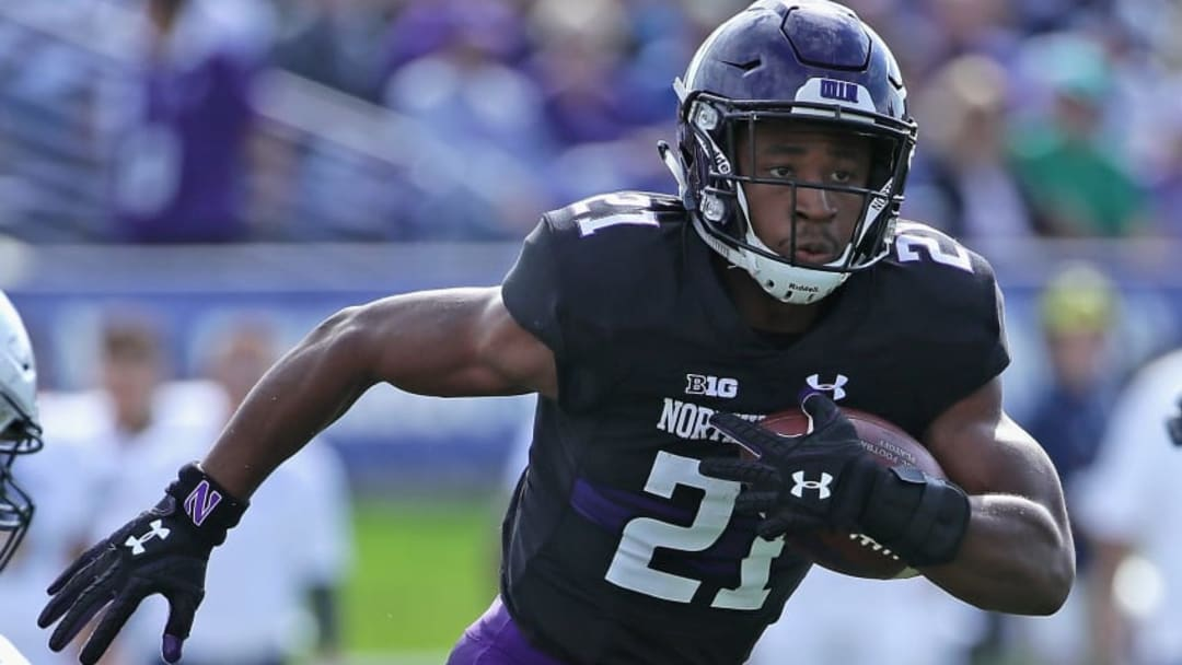 EVANSTON, IL - OCTOBER 07: Justin Jackson #21 of the Northwestern Wildcats runs against the Penn State Nittany Lions at Ryan Field on October 7, 2017 in Evanston, Illinois. (Photo by Jonathan Daniel/Getty Images)