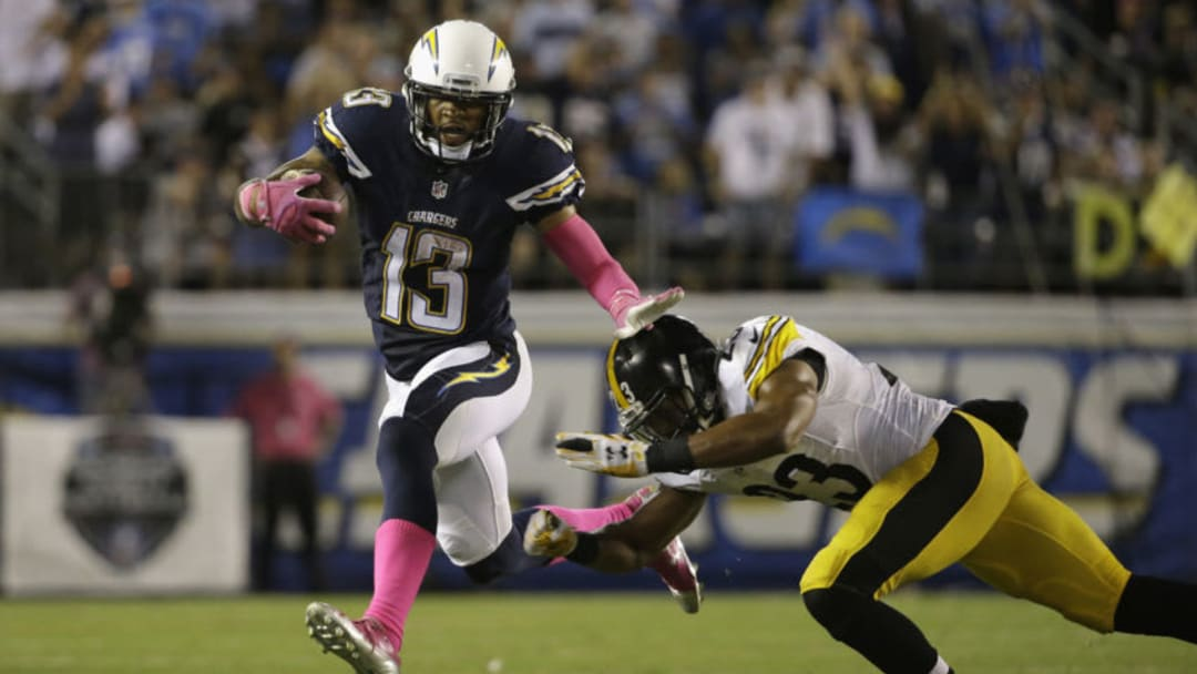 SAN DIEGO, CA - OCTOBER 12: Wide receiver Keenan Allen #13 of the San Diego Chargers is pursued by free safety Mike Mitchell #23 of the Pittsburgh Steelers at Qualcomm Stadium on October 12, 2015 in San Diego, California. (Photo by Jeff Gross/Getty Images)