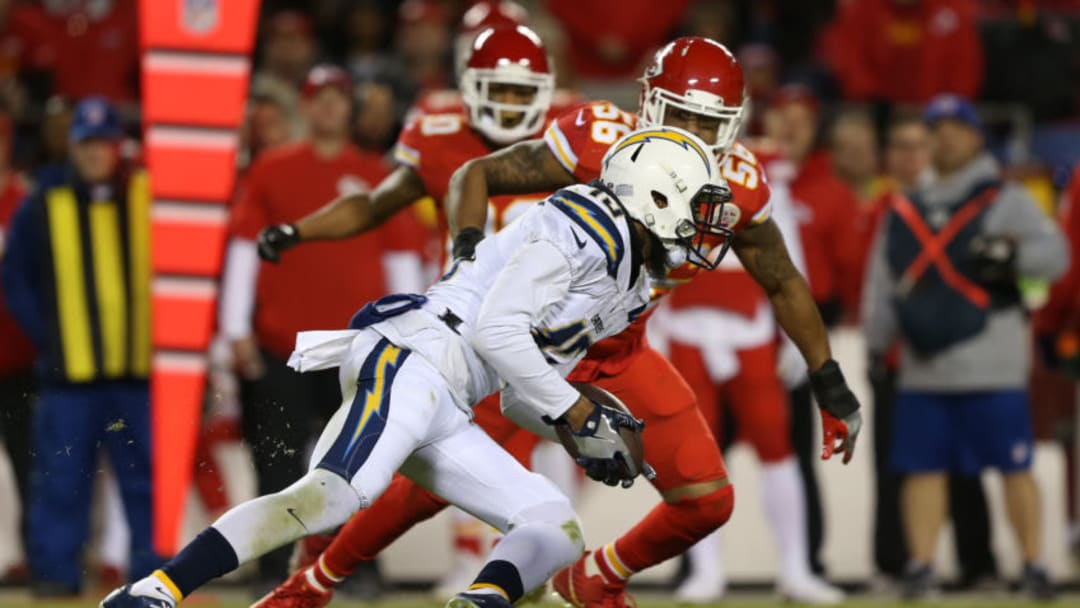 KANSAS CITY, MO - DECEMBER 16: Los Angeles Chargers wide receiver Keenan Allen (13) during a 9-yard reception in the fourth quarter of a week 15 NFL game between the Los Angeles Chargers and Kansas City Chiefs on December 16, 2017 at Arrowhead Stadium in Kansas City, MO. The Chiefs won 30-13. (Photo by Scott Winters/Icon Sportswire via Getty Images)