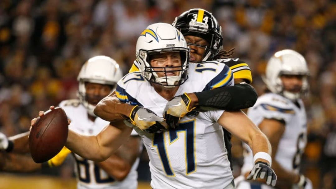 PITTSBURGH, PA - DECEMBER 02: Philip Rivers #17 of the Los Angeles Chargers is wrapped up for a sack by Terrell Edmunds #34 of the Pittsburgh Steelers in the first half during the game at Heinz Field on December 2, 2018 in Pittsburgh, Pennsylvania. (Photo by Justin K. Aller/Getty Images)