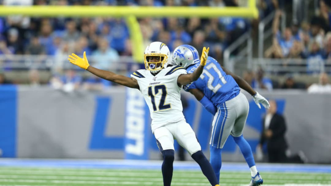 DETROIT, MI - SEPTEMBER 15: Travis Benjamin #12 of the Los Angeles Chargers reacts in the second quarter during a game against the Detroit Lions at Ford Field on September 15, 2019 in Detroit, Michigan. (Photo by Rey Del Rio/Getty Images)