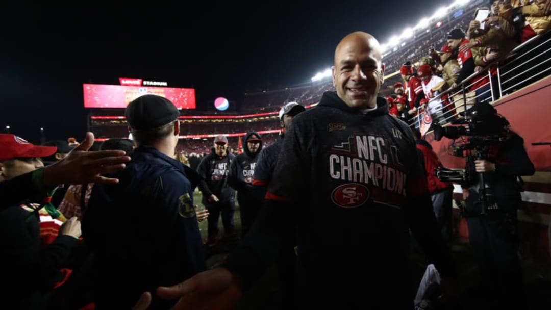 SANTA CLARA, CALIFORNIA - JANUARY 19: Defensive coordinator Robert Saleh of the San Francisco 49ers celebrates after winning the NFC Championship game against the Green Bay Packers at Levi's Stadium on January 19, 2020 in Santa Clara, California. The 49ers beat the Packers 37-20. (Photo by Ezra Shaw/Getty Images)