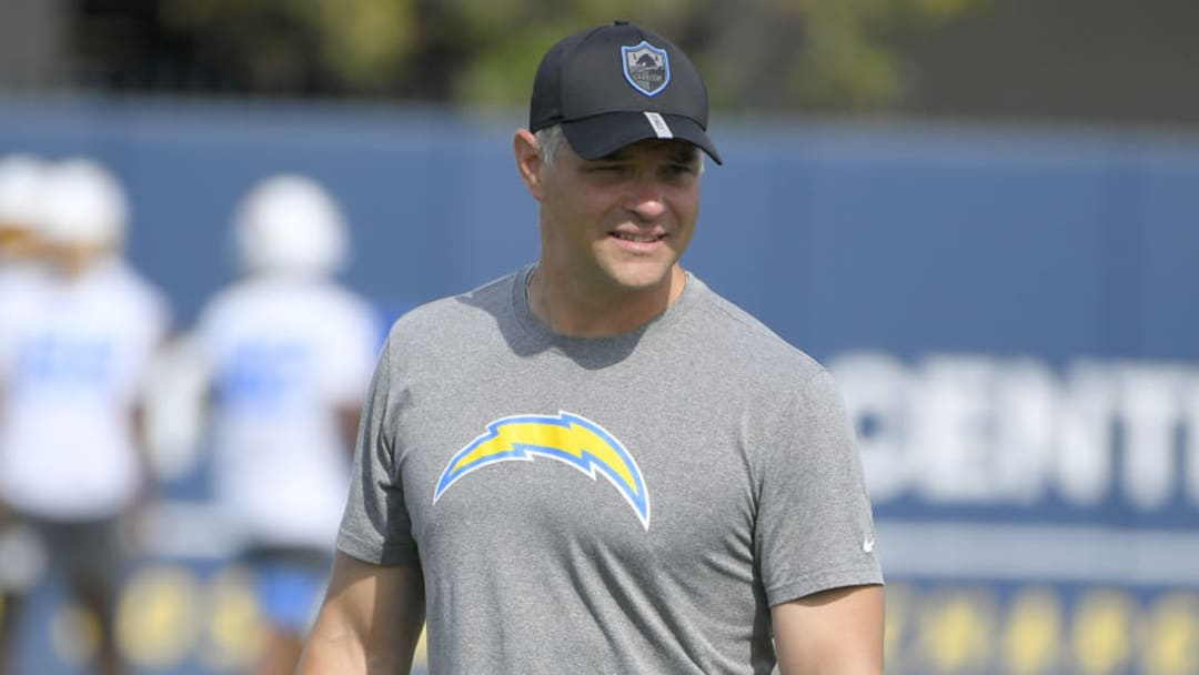 COSTA MESA, CA - JUNE 15: Joe Lombardi is the Offensive Coordinator for the Los Angeles Chargers on June 15, 2021 in Costa Mesa, California. (Photo by John McCoy/Getty Images)