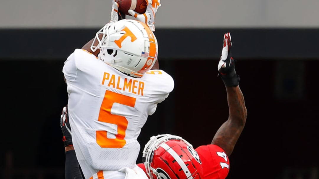 ATHENS, GEORGIA - OCTOBER 10: Josh Palmer #5 of the Tennessee Volunteers pulls in this touchdown reception against DJ Daniel #14 of the Georgia Bulldogs during the first half at Sanford Stadium on October 10, 2020 in Athens, Georgia. (Photo by Kevin C. Cox/Getty Images)