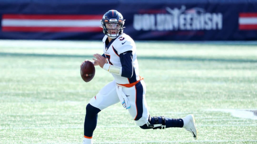 FOXBOROUGH, MASSACHUSETTS - OCTOBER 18: Drew Lock #3 of the Denver Broncos attempts a pass against the New England Patriots at Gillette Stadium on October 18, 2020 in Foxborough, Massachusetts. (Photo by Maddie Meyer/Getty Images)