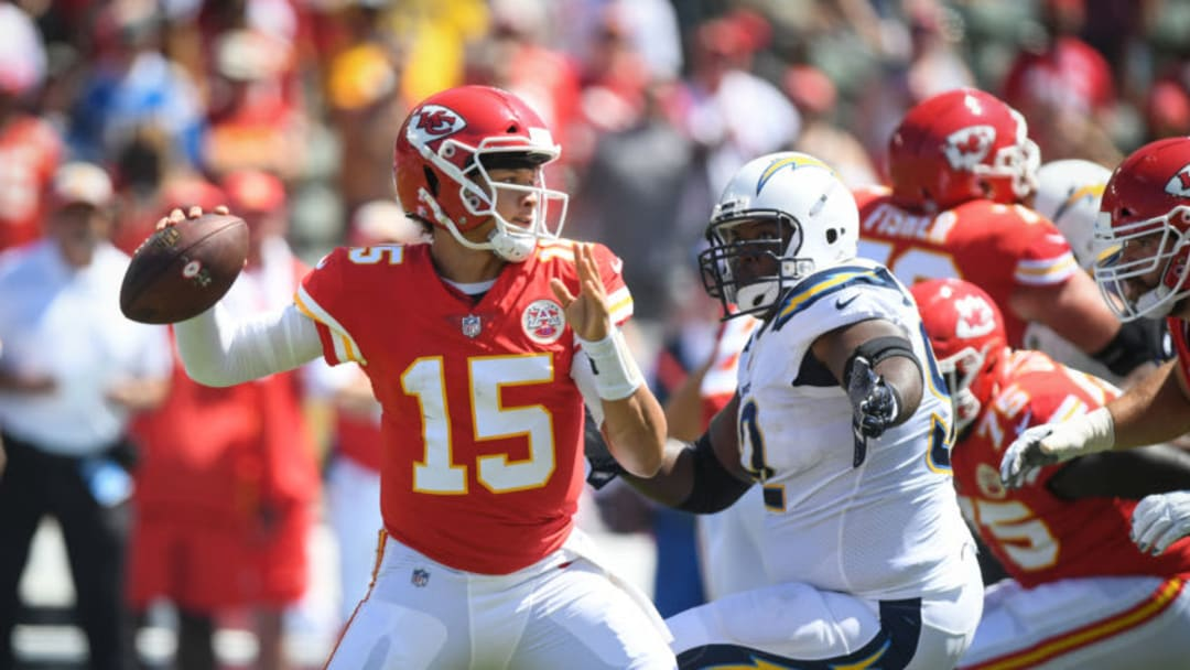 CARSON, CA - SEPTEMBER 09: Quarterback Patrick Mahomes #15 of the Kansas City Chiefs throws for a touchdown to take a 14-3 lead in the first quarter against the Los Angeles Chargers at StubHub Center on September 9, 2018 in Carson, California. (Photo by Harry How/Getty Images)