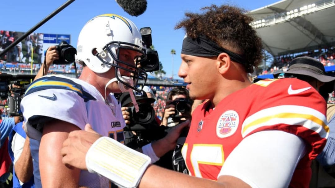CARSON, CA - SEPTEMBER 09: Patrick Mahomes #15 of the Kansas City Chiefs and Philip Rivers #17 of the Los Angeles Chargers shake hands at the end of the game after a 38-28 Chiefs win at StubHub Center on September 9, 2018 in Carson, California. (Photo by Harry How/Getty Images)