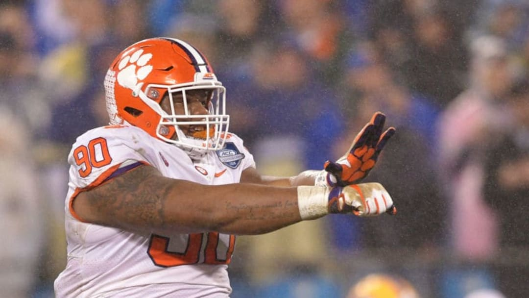 CHARLOTTE, NC - DECEMBER 01: Dexter Lawrence #90 of the Clemson Tigers reacts against the Pittsburgh Panthers in the first quarter during their game at Bank of America Stadium on December 1, 2018 in Charlotte, North Carolina. (Photo by Grant Halverson/Getty Images)