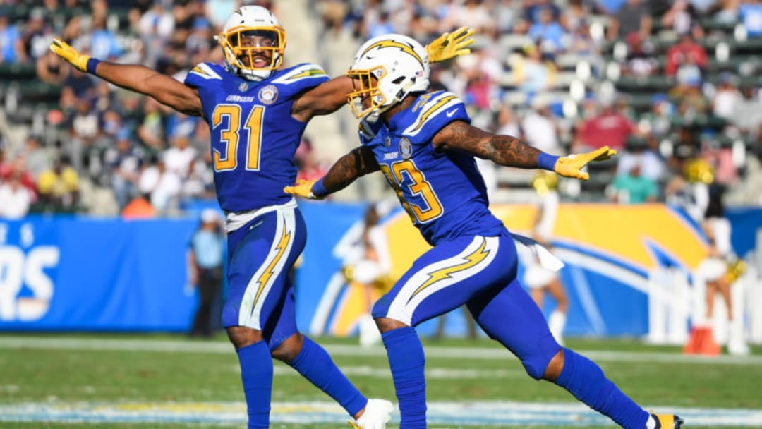 CARSON, CA - NOVEMBER 25: Defensive back Adrian Phillips #31 and free safety Derwin James #33 of the Los Angeles Chargers celebrate a missed field goal by the Arizona Cardinals in the second quarter at StubHub Center on November 25, 2018 in Carson, California. (Photo by Harry How/Getty Images)