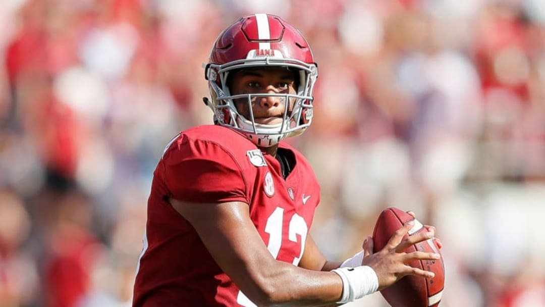 TUSCALOOSA, ALABAMA - SEPTEMBER 07: Tua Tagovailoa #13 of the Alabama Crimson Tide looks to pass against the New Mexico State Aggies in the first half at Bryant-Denny Stadium on September 07, 2019 in Tuscaloosa, Alabama. (Photo by Kevin C. Cox/Getty Images)