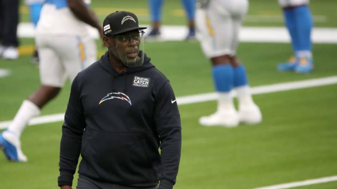 INGLEWOOD, CALIFORNIA - OCTOBER 25: Head coach Anthony Lynn of the Los Angeles Chargers looks on before they play against the Jacksonville Jaguars at SoFi Stadium on October 25, 2020 in Inglewood, California. (Photo by Katelyn Mulcahy/Getty Images)
