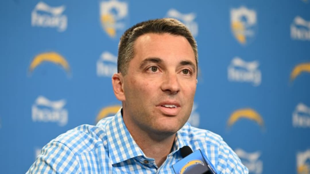 Apr 22, 2019; Costa Mesa, CA, USA; Los Angeles Chargers general manager Tom Telesco at a press conference prior to the 2019 NFL Draft. Mandatory Credit: Kirby Lee-USA TODAY Sports