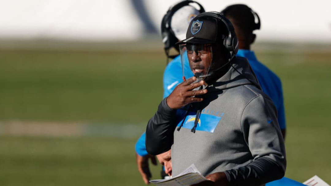 Nov 1, 2020; Denver, Colorado, USA; Los Angeles Chargers head coach Anthony Lynn looks on in the first quarter against the Denver Broncos at Empower Field at Mile High. Mandatory Credit: Isaiah J. Downing-USA TODAY Sports