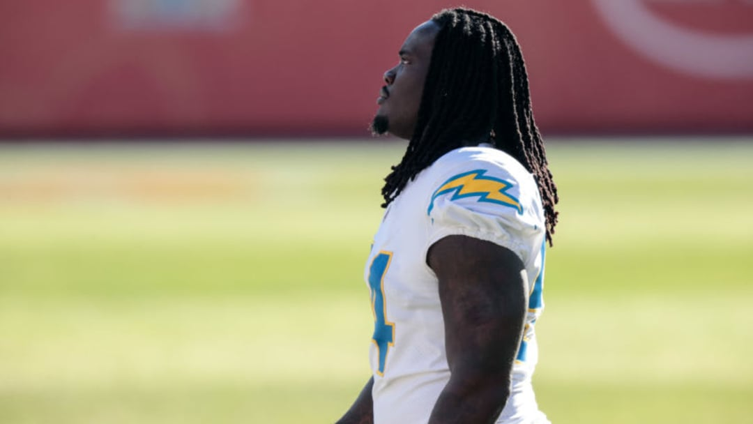 Nov 1, 2020; Denver, Colorado, USA; Los Angeles Chargers defensive end Melvin Ingram III (54) before the game against the Denver Broncos at Empower Field at Mile High. Mandatory Credit: Isaiah J. Downing-USA TODAY Sports