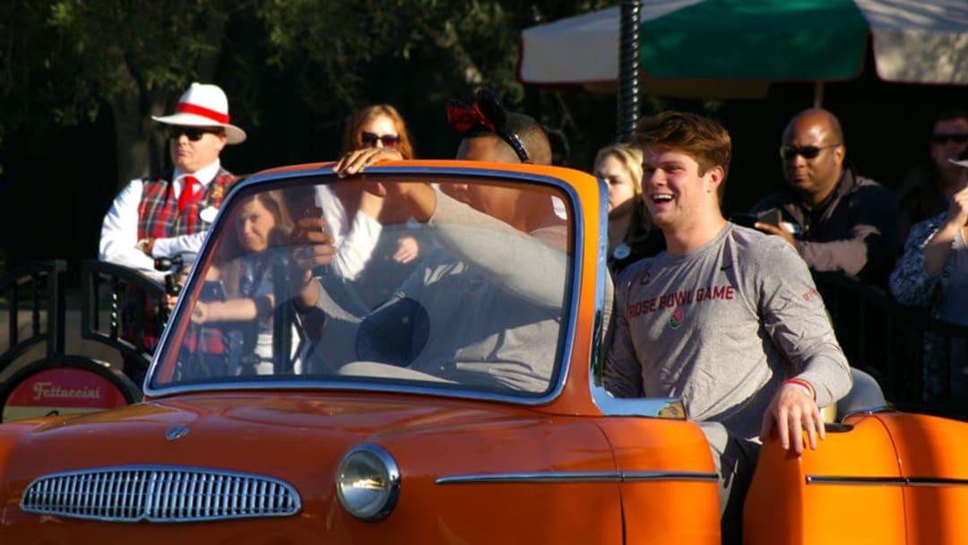 USC's Sam Darnold at Disneyland's California Adventure during Rose Bowl week. (Alicia de Artola/Reign of Troy)