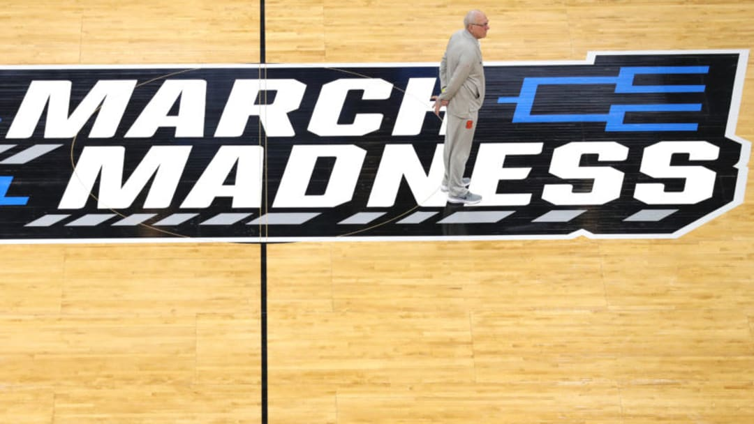 SALT LAKE CITY, UTAH - MARCH 20: Head coach Jim Boeheim of the Syracuse Orange looks on during practice before the First Round of the NCAA Basketball Tournament at Vivint Smart Home Arena on March 20, 2019 in Salt Lake City, Utah. (Photo by Patrick Smith/Getty Images)