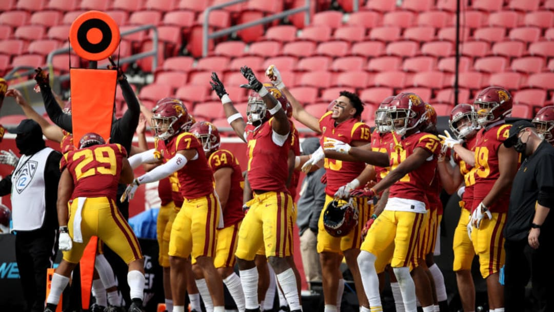 USC football players celebrate. (Sean M. Haffey/Getty Images)