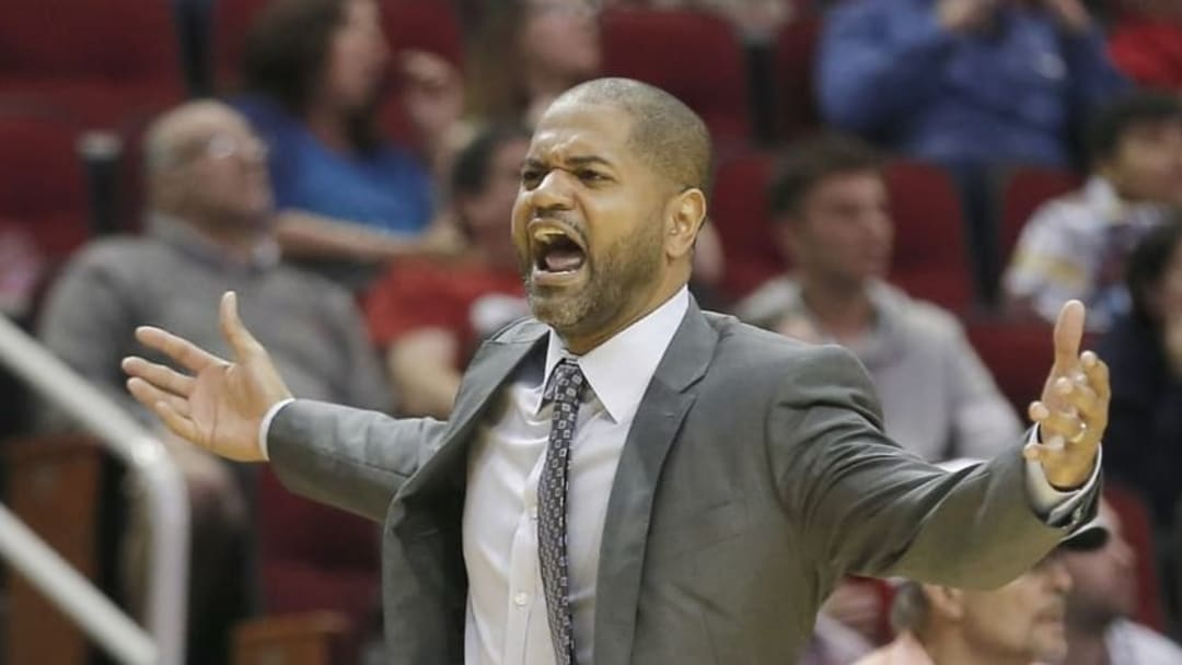 Mar 2, 2016; Houston, TX, USA; Houston Rockets head coach J.B. Bickerstaff looks for a call against the New Orleans Pelicans in the second half at Toyota Center. The Rockets won 100-95. Mandatory Credit: Thomas B. Shea-USA TODAY Sports