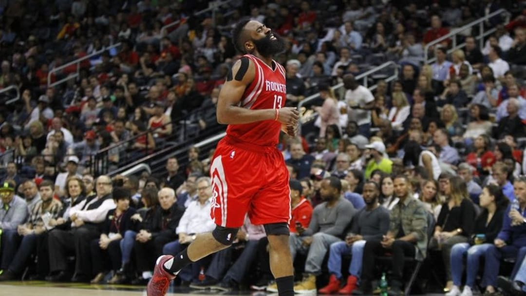Mar 19, 2016; Atlanta, GA, USA; Houston Rockets guard James Harden (13) shows emotion against the Atlanta Hawks in the third quarter at Philips Arena. Mandatory Credit: Brett Davis-USA TODAY Sports
