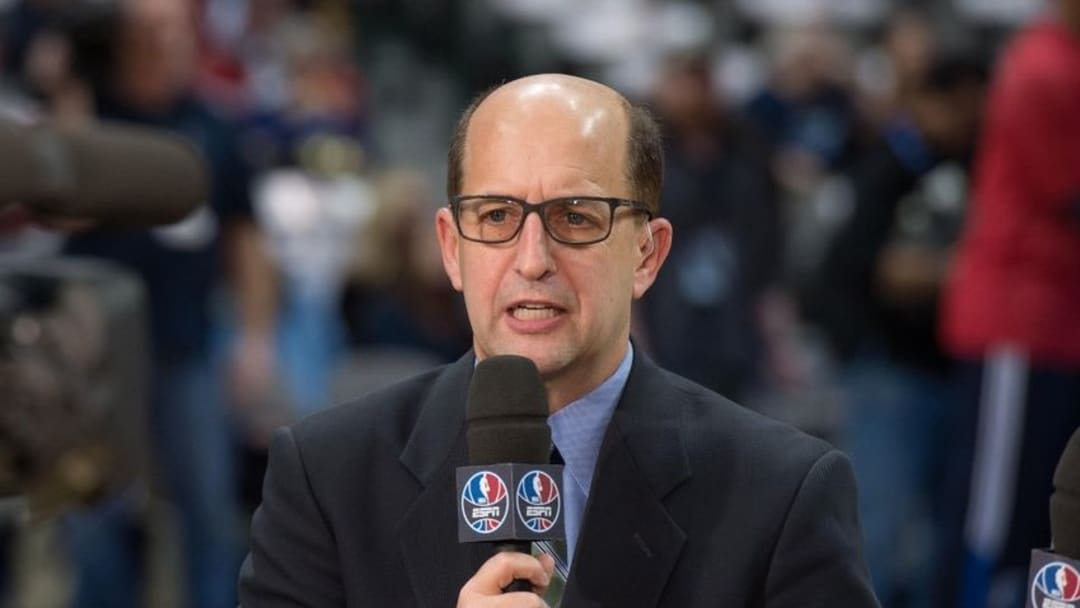 Jan 23, 2015; Dallas, TX, USA; ESPN broadcaster Jeff Van Gundy before the game between the Dallas Mavericks and the Chicago Bulls at the American Airlines Center. The Bulls defeated the Mavericks 102-98. Mandatory Credit: Jerome Miron-USA TODAY Sports