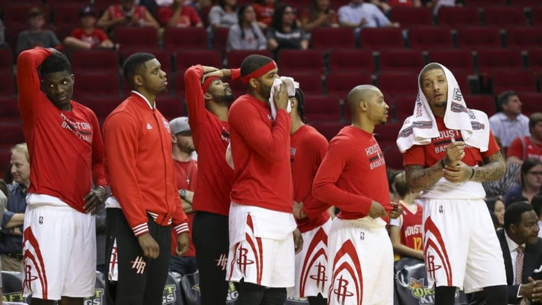 Apr 7, 2016; Houston, TX, USA; The Houston Rockets players react from the bench after a play during the fourth quarter against the Phoenix Suns at Toyota Center. The Suns won 124-115. Mandatory Credit: Troy Taormina-USA TODAY Sports