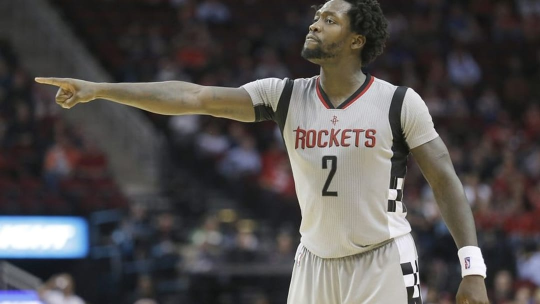 Mar 2, 2016; Houston, TX, USA; Houston Rockets guard Patrick Beverley (2) looks for a call against the New Orleans Pelicans in the second half at Toyota Center. The Rockets won 100-95. Mandatory Credit: Thomas B. Shea-USA TODAY Sports