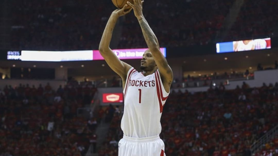 May 17, 2015; Houston, TX, USA; Houston Rockets forward Trevor Ariza (1) shoots the ball during the second quarter against the Los Angeles Clippers in game seven of the second round of the NBA Playoffs at Toyota Center. Mandatory Credit: Troy Taormina-USA TODAY Sports