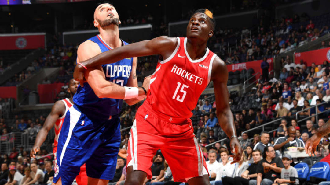 LOS ANGELES, CA - OCTOBER 21: Clint Capela #15 of the Houston Rockets on guard against Marcin Gortat #13 of the LA Clippers on October 21, 2018 at Staples Center in Los Angeles, California. NOTE TO USER: User expressly acknowledges and agrees that, by downloading and or using this photograph, User is consenting to the terms and conditions of the Getty Images License Agreement. Mandatory Copyright Notice: Copyright 2018 NBAE (Photo by Andrew D. Bernstein/NBAE via Getty Images)