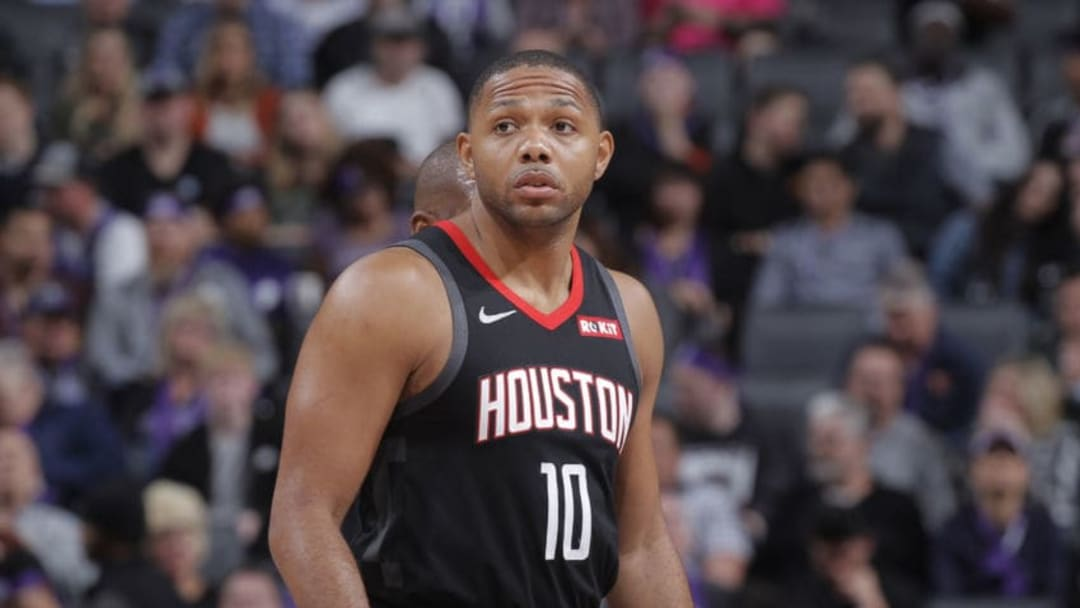 SACRAMENTO, CA - APRIL 2: Eric Gordon #10 of the Houston Rockets looks on during the game against the Sacramento Kings on April 2, 2019 at Golden 1 Center in Sacramento, California. NOTE TO USER: User expressly acknowledges and agrees that, by downloading and or using this photograph, User is consenting to the terms and conditions of the Getty Images Agreement. Mandatory Copyright Notice: Copyright 2019 NBAE (Photo by Rocky Widner/NBAE via Getty Images)