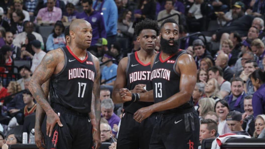 Houston Rockets P.J. Tucker Danuel House James Harden (Photo by Rocky Widner/NBAE via Getty Images)