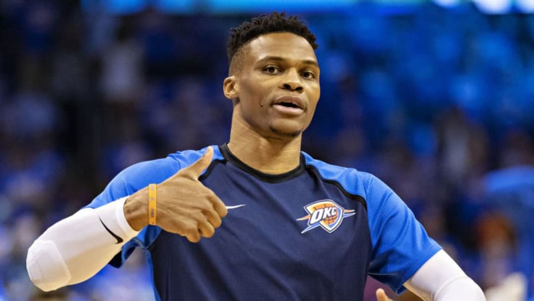 OKLAHOMA CITY, OK - APRIL 21: Russell Westbrook #0 of the Oklahoma City Thunder warms up before a game against the Portland Trail Blazers during Round One Game Three of the 2019 NBA Playoffs on April 21, 2019 at Chesapeake Energy Arena in Oklahoma City, Oklahoma NOTE TO USER: User expressly acknowledges and agrees that, by downloading and or using this photograph, User is consenting to the terms and conditions of the Getty Images License Agreement. The Trail Blazers defeated the Thunder 111-98. (Photo by Wesley Hitt/Getty Images)