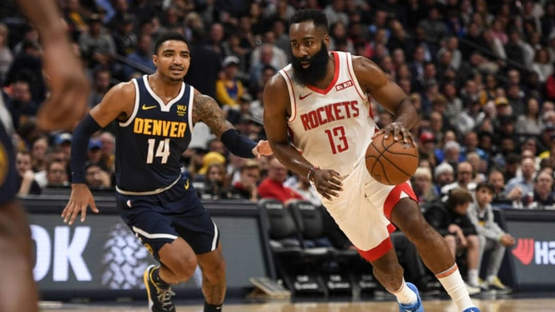 James Harden (13) of the Houston Rockets drives as Gary Harris (14) of the Denver Nuggets (Photo by AAron Ontiveroz/MediaNews Group/The Denver Post via Getty Images)