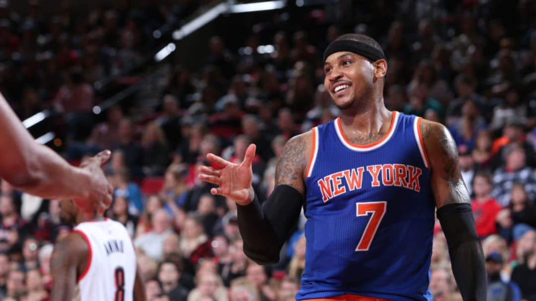 PORTLAND, OR - DECEMBER 12: A close up shot of Carmelo Anthony #7 of the New York Knicks during the game against the Portland Trail Blazers on December 12, 2015 at the Moda Center Arena in Portland, Oregon. NOTE TO USER: User expressly acknowledges and agrees that, by downloading and or using this photograph, user is consenting to the terms and conditions of the Getty Images License Agreement. Mandatory Copyright Notice: Copyright 2015 NBAE (Photo by Sam Forencich/NBAE via Getty Images)