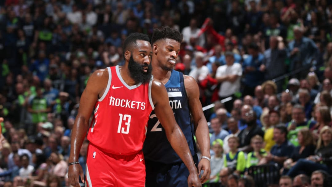 James Harden #13 of the Houston Rockets and Jimmy Butler #23 of the Minnesota Timberwolves (Photo by David Sherman/NBAE via Getty Images)