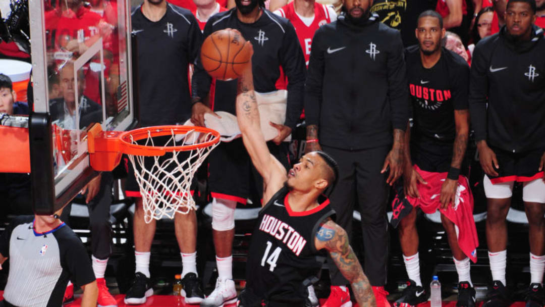 HOUSTON, TX - MAY 16: Gerald Green #14 of the Houston Rockets goes up for a dunk against the Golden State Warriors during Game Two of the Western Conference Finals of the 2018 NBA Playoffs on May 16, 2018 at the Toyota Center in Houston, Texas. NOTE TO USER: User expressly acknowledges and agrees that, by downloading and or using this photograph, User is consenting to the terms and conditions of the Getty Images License Agreement. Mandatory Copyright Notice: Copyright 2018 NBAE (Photo by Andrew D. Bernstein/NBAE via Getty Images)