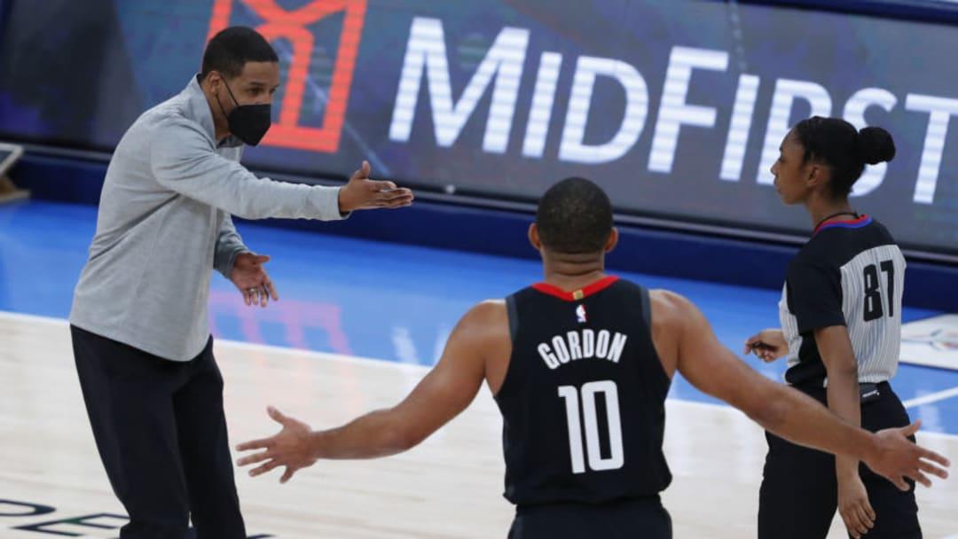Houston Rockets head coach Stephen Silas and guard Eric Gordon (10) Mandatory Credit: Alonzo Adams-USA TODAY Sports