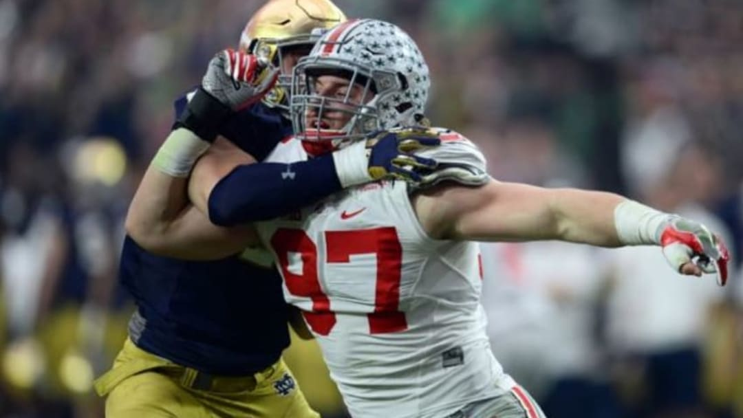 Jan 1, 2016; Glendale, AZ, USA; Ohio State Buckeyes defensive lineman Joey Bosa (97) in action against the Notre Dame Fighting Irish during the first half of the 2016 Fiesta Bowl at University of Phoenix Stadium. Mandatory Credit: Joe Camporeale-USA TODAY Sports