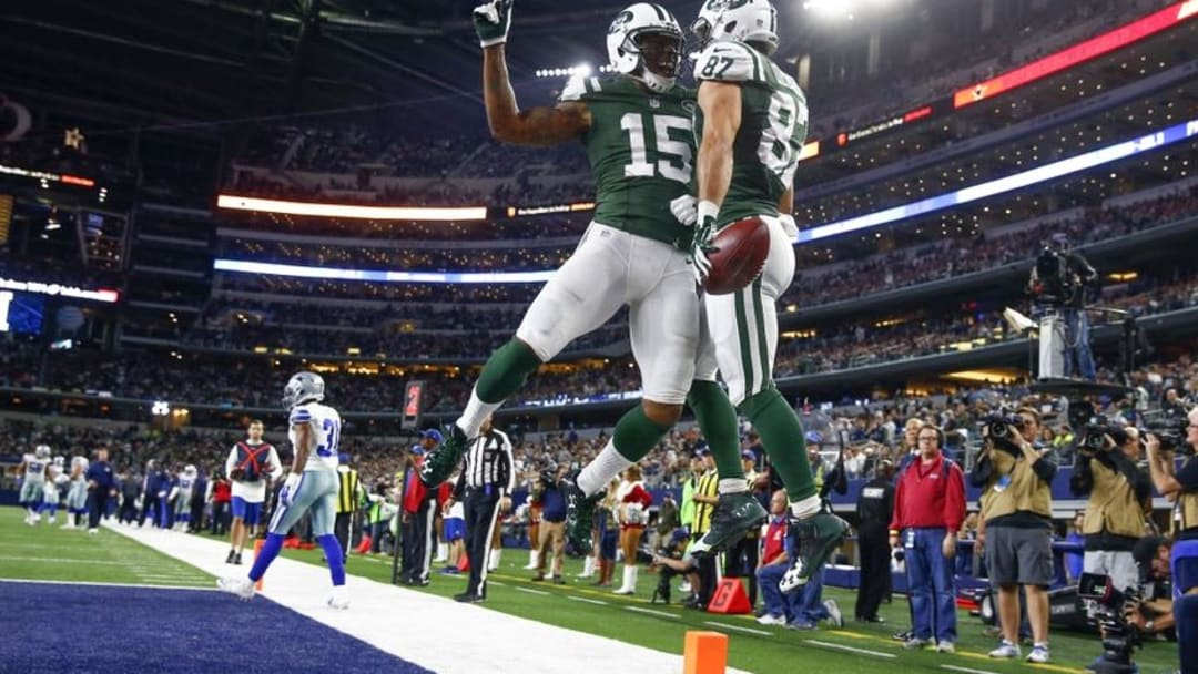 Dec 19, 2015; Arlington, TX, USA; New York Jets wide receiver Eric Decker (87) celebrates with wide receiver Brandon Marshall (15) after scoring a touchdown against the Dallas Cowboys during the second half at AT&T Stadium. Mandatory Credit: Kevin Jairaj-USA TODAY Sports
