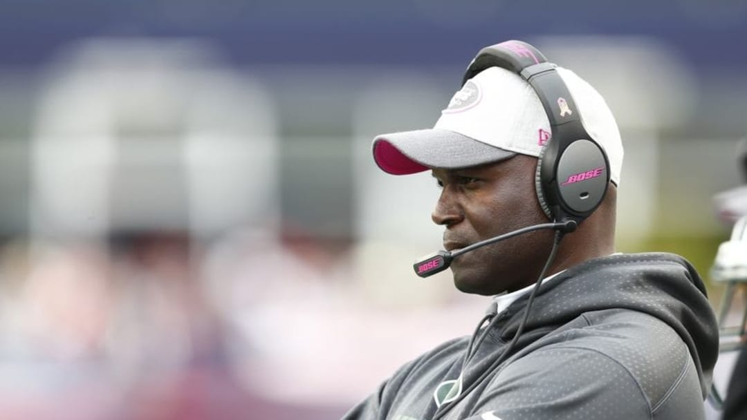 Oct 25, 2015; Foxborough, MA, USA; New York Jets head coach Todd Bowles watches during the second half of a game against the New England Patriots at Gillette Stadium. Mandatory Credit: Mark L. Baer-USA TODAY Sports